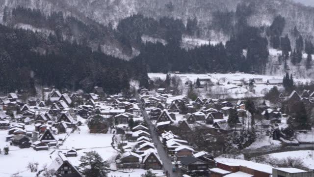 Shirakawago Village And Falling Snow