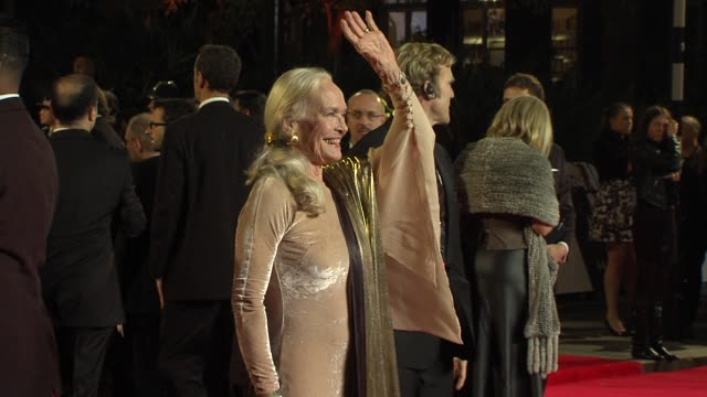 shirley eaton at 'skyfall' royal world premiere at royal albert hall on october 23 2012 in london england - skyfall 2012 film stock videos and b-roll footage