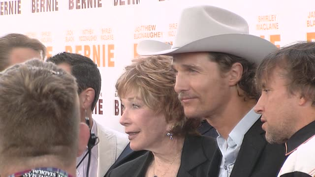 shirley maclaine and matthew mcconaughey at the the 2011 los angeles film festival presents the opening night world premiere of 'bernie' at los... - matthew mcconaughey stock videos & royalty-free footage