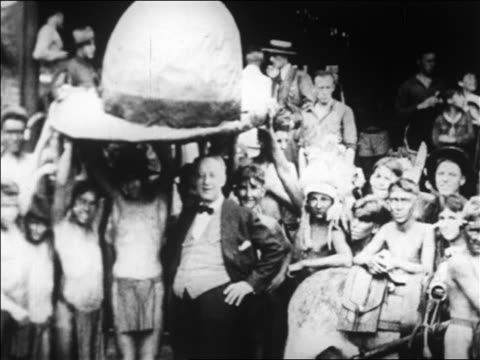 shirtless boy scouts holding hat over al smith on campaign trail / bear mntn, ny - 1928 stock videos & royalty-free footage