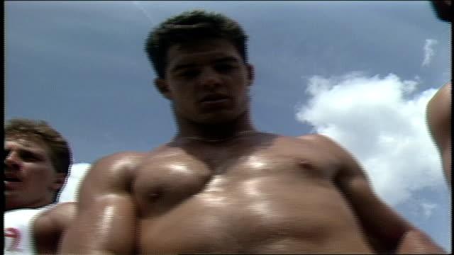 shirtless men modeling for camera in daytona florida - shirtless stock videos & royalty-free footage