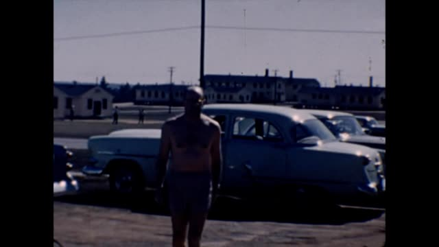 1957 shirtless soldier at fort gordon - balding stock videos & royalty-free footage