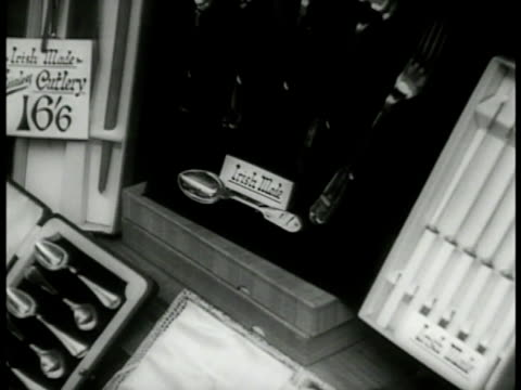 shirts ties in shop window flatware in box in window w/ sign 'irish made' small sign 'irish manufacture' cu 'finest selected irish' produce cherry... - window box stock videos & royalty-free footage