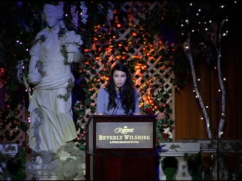vídeos de stock, filmes e b-roll de shiva rose on children's suffering worldwide and the ccfa's work at the 6th annual lullabies and luxuries luncheon and fashion show to benefit caring... - regent beverly wilshire hotel