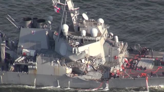 the us navy's guidedmissile destroyer fitzgerald collided with a container vessel from the philippines about 100 kilometers southwest of yokosuka... - crew stock videos & royalty-free footage