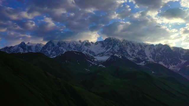 shkhara mountain near ushguli and mestia village / georgia - steep hill stock videos & royalty-free footage