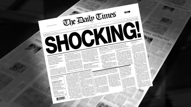 shocking! - newspaper headline (intro + loops) - shock stock videos & royalty-free footage