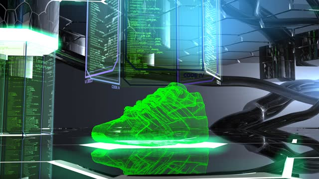 shoe design in futuristic showroom - cyberspace stock videos & royalty-free footage
