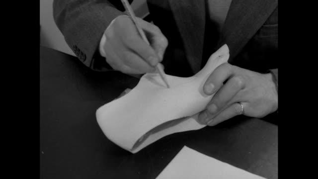 shoe designer creates pattern; 1956 - pencil stock videos & royalty-free footage