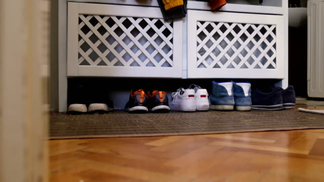 vídeos de stock e filmes b-roll de shoe rack with family storage space for shoes in domestic home - domestic room
