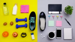shoes stop motion - close up of objects for exercise and office working
