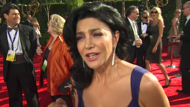 shohreh aghdashloo on where she was when she heard the news experiencing the emmys her dress at the 61st annual primetime emmy awards arrivals at los... - annual primetime emmy awards stock-videos und b-roll-filmmaterial