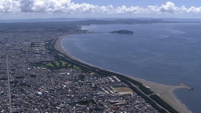 aerial, shonan beach, kanagawa, japan - 相模湾点の映像素材/bロール
