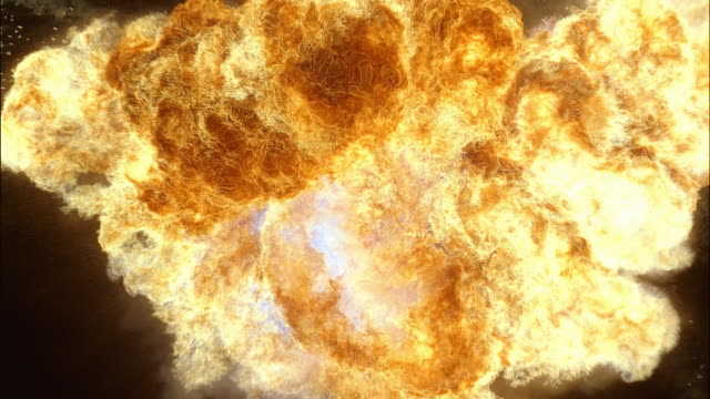 shooting explosion with lingering flames - formato video mpeg video stock e b–roll
