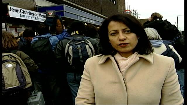 shooting of jean charles de menezes/ vigil at stockwell tube station; stockwell: close shot poster with slogan 'police knew brazilian was not bomb... - ランベス点の映像素材/bロール