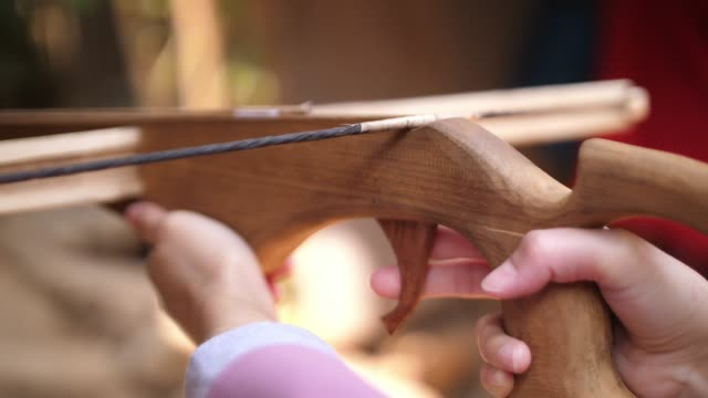 shooting wooden cross bow - archery bow stock videos and b-roll footage