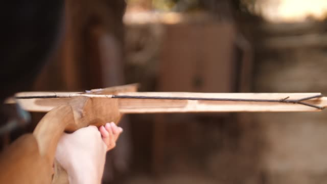 Shooting wooden cross bow