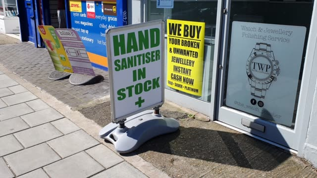 a shop board informs the public they have hand sanitiser in stock during the coronavirus pandemic on march 23 2020 in east dulwich london england - brian dayle coronavirus stock videos & royalty-free footage