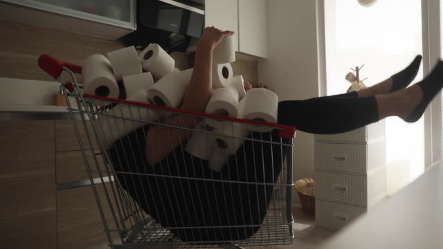 shoping cart filled with toilet paper - full stock videos & royalty-free footage