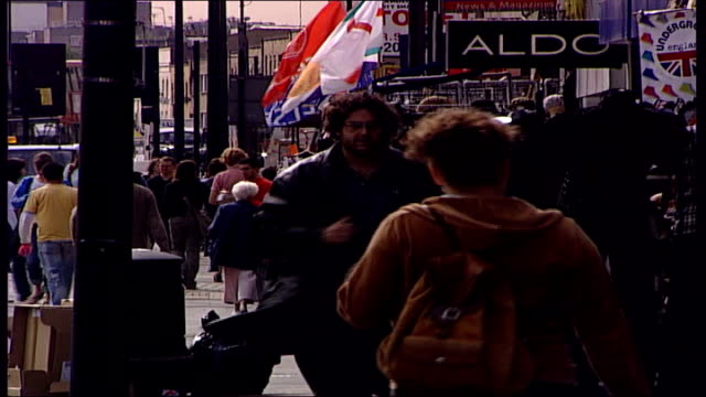 change in law london camden high street ext shoppers to and fro along street - shoplifter stock videos and b-roll footage