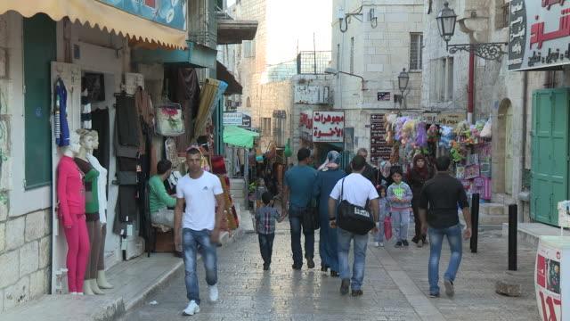 shop-lined street, bethlehem, palestine - west bank stock videos & royalty-free footage