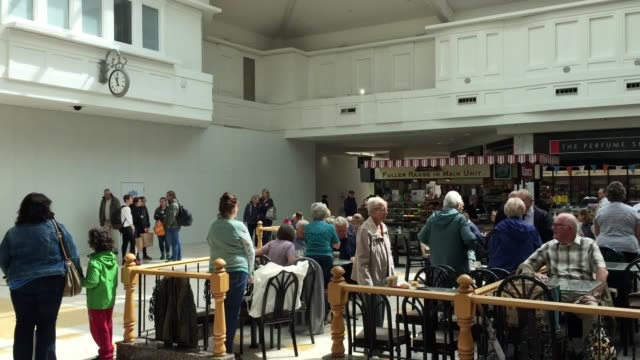 shoppers at the arndale centre in eastbourne east sussex pause for a minute's silence to remember those killed and maimed in the london terror attack - east sussex stock videos & royalty-free footage
