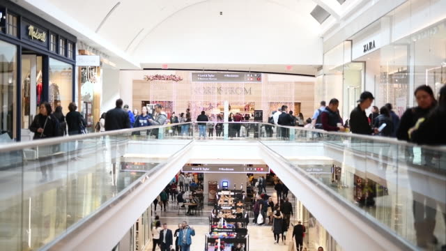 stockvideo's en b-roll-footage met shoppers at the garden state mall and short hills mall on black friday in new jersey us on friday nov 29 2019 - nordstrom