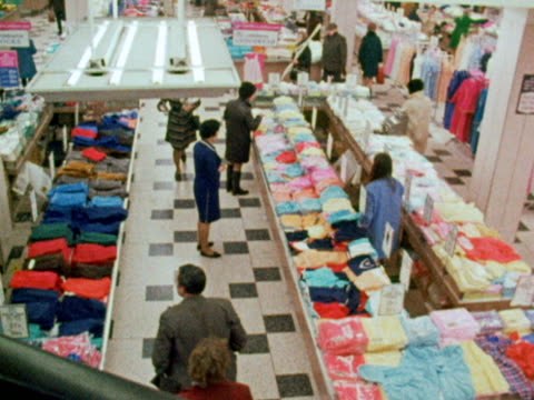 Shoppers browse the underwear and nightwear items in a department store