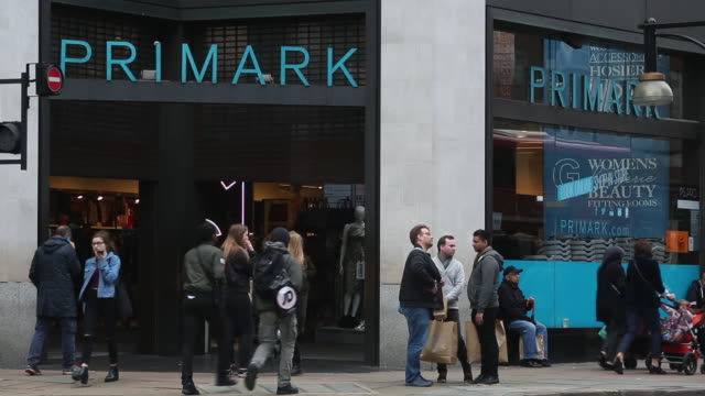 Shoppers in front of a Primark store on Oxford Street on October 19 2016 in London England Inflation rose to 10% in September up from 06% in August...