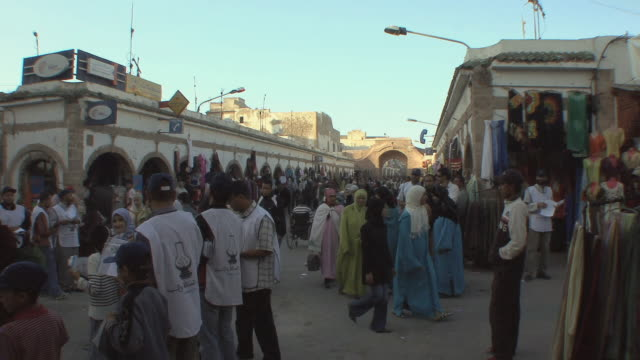 ws shoppers in medina, essaouira, morocco - old town stock videos & royalty-free footage