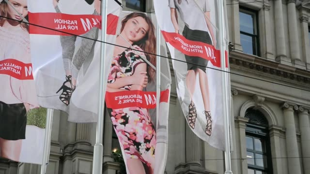 Shoppers line up outside a Hennes Mauritz AB HM fashion store in Melbourne Australia on Saturday April 5 Exterior GVs of Australias first HM