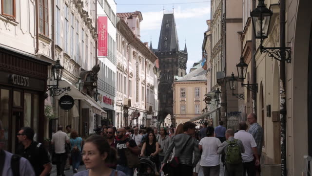 shoppers on celetna near old town square, prague, czech republic, europe - traditionally czech stock videos & royalty-free footage