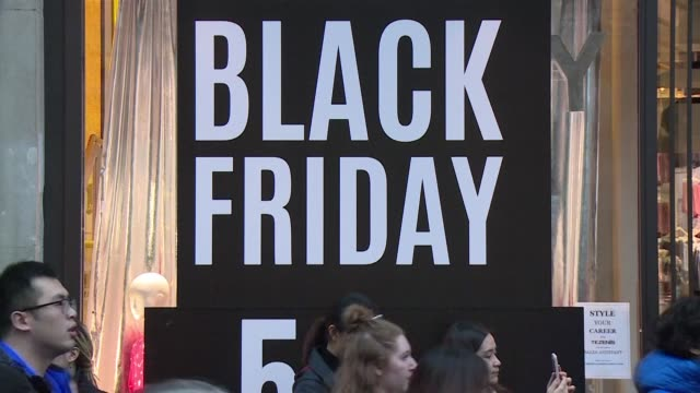 shoppers on london's oxford street search for 'black friday' bargains - black friday stock videos & royalty-free footage