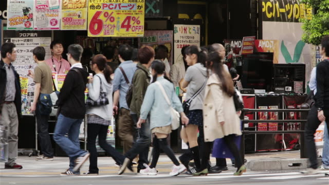 LS Shoppers pass an electronics store in Tokyo's Akihabara district / Tokyo, Japan