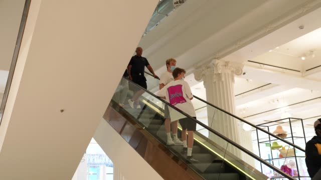 shoppers take social distancing escalator in selfridges on oxford street on june 15, 2020 in london, england the british government have relaxed... - vacations stock videos & royalty-free footage