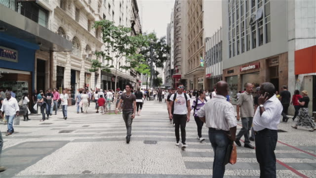 WS Shoppers walk through a busy street in downtown Sao Paulo / Sao Paulo, Brazil