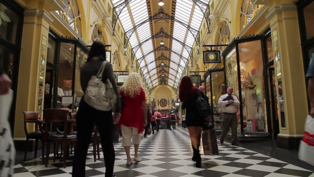 ms shoppers window shopping in royal arcade / melbourne, victoria, australia - shopping centre stock videos & royalty-free footage