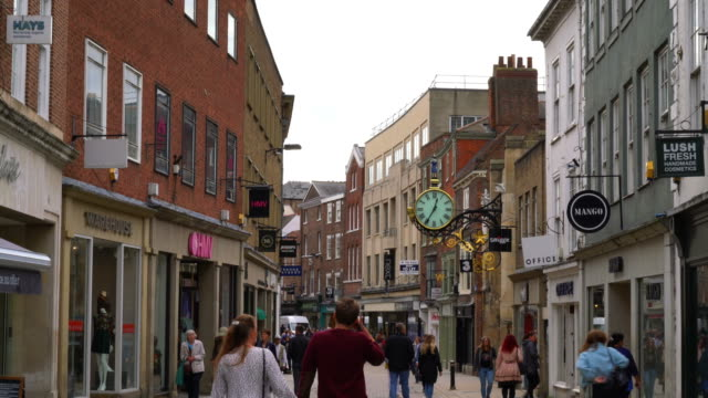 shopping area at stonegate street in york, uk - editorial stock videos & royalty-free footage