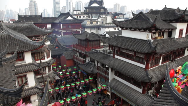 Shopping area with traditional chinese buildings decorated for Chinese New Year, Yuyuan Garden, Shanghai, China, Asia