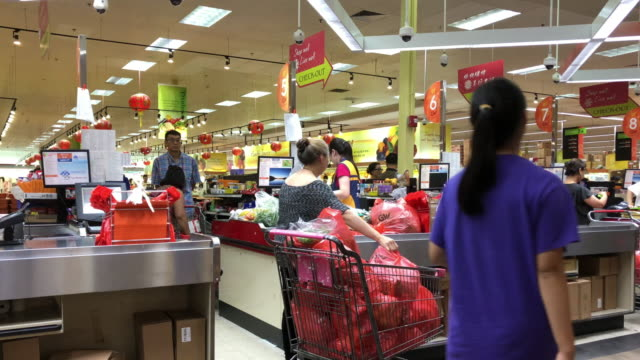 shopping at chinese grocery store in atlanta, georgia, usa - cashier stock videos & royalty-free footage