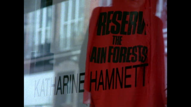 montage shopping at katharine hamnett's store featuring her political t-shirts / london, england, united kingdom - katharine hamnett stock videos & royalty-free footage
