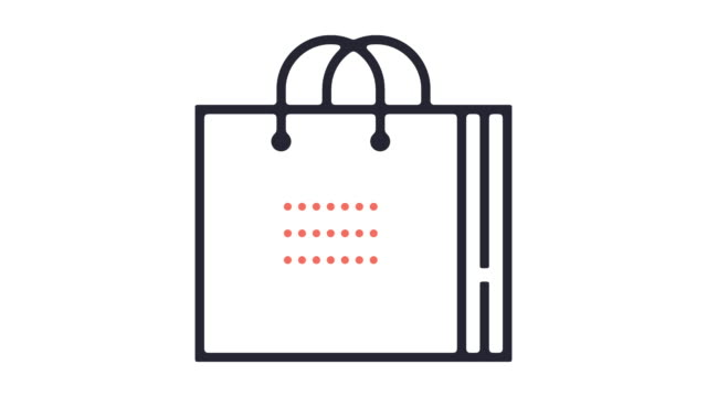 shopping bag icon animation - shopping bag stock videos & royalty-free footage