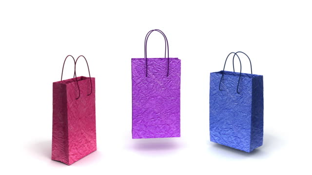 shopping bags are happy - three objects stock videos & royalty-free footage