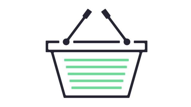 vidéos et rushes de shopping basket icône animation - panier courses