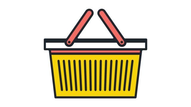 vídeos de stock, filmes e b-roll de compras cesta on-line linha plana ícone animação com alfa - mercado espaço de venda no varejo