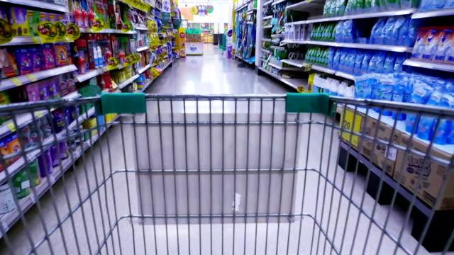 Shopping cart basket moving through super market