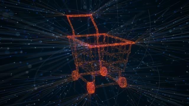 vidéos et rushes de création de paniers avec des particules - e commerce