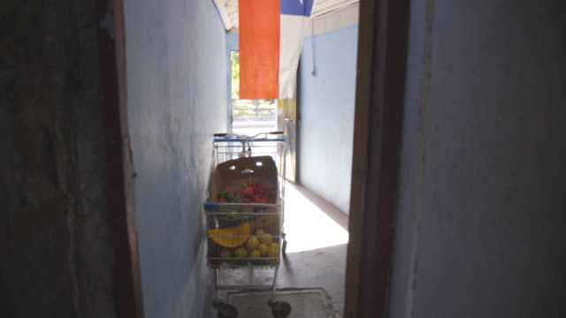 stockvideo's en b-roll-footage met shopping cart full of food in hall under chilean flag - nationale vlag