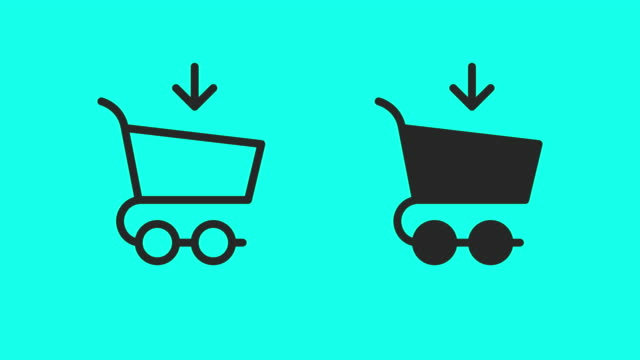 shopping cart icons - vector animate - outline stock videos & royalty-free footage