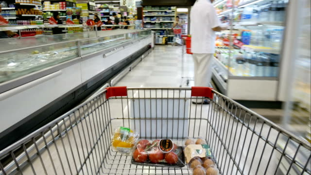 shopping cart in supermarket time lapse - trolley stock videos and b-roll footage
